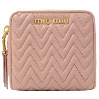 MIU MIU 5ML522 經典抓皺羊皮兩折扣式零錢短夾.粉