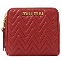 MIU MIU 5ML522 經典抓皺羊皮兩折扣式零錢短夾.紅
