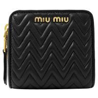 MIU MIU 5ML522 經典抓皺羊皮兩折扣式零錢短夾.黑