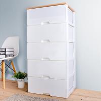 HOUSE 木天板-QQ無印風衣物抽屜式收納櫃五層-超大款(5大抽-白色)