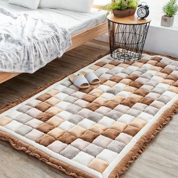 韓式手工拼布法蘭絨毛絨饅頭墊/榻榻米床墊/地墊