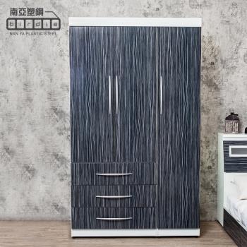Birdie南亞塑鋼-4尺三門三抽塑鋼衣櫃(鐵刀木色)