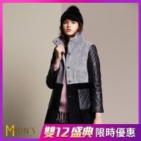 MONS  義大利精品設計水波紋皮草大衣