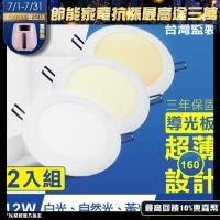 TOYAMA特亞馬 12W超薄LED崁燈 挖孔尺寸15cm 2入組(黃光、白光、自然光)