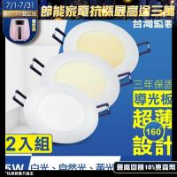 TOYAMA特亞馬 5W超薄LED崁燈 挖孔尺寸9.5cm 2入組 (黃光、白光、自然光)