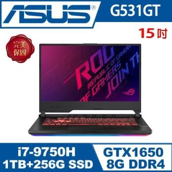福利品 華碩 ASUS G531GT 15.6吋電競筆電 i7-9750H/8G/1TB+256G/GTX 1650 4G/WIN10 黑色 2年保