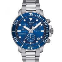 TISSOT 天梭 Seastar 1000海洋之星300米潛水三眼計時錶/藍/45.5mm/T1204171104100