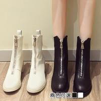 【Alice 】 (預購)瘋時尚名品概念帶款拉鍊中筒帥氣機車短靴
