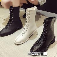 【Alice 】 (預購) 瘋時尚休閒寫真素面顯小腳中筒馬丁機車短靴