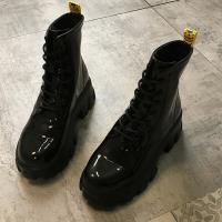 【Alice 】 (預購) 瘋時尚休閒網布拼接歐美復古亮皮機車短靴
