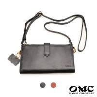 【OMC】歐洲Fronts原皮雙拉鍊手機包護照斜背小包(2色)