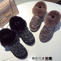【Alice 】 (預購)拿鐵色系亮片絨面雪靴