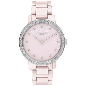 COACH 淡雅LOGO晶鑽陶瓷腕錶/粉紅/35mm/CO14503500