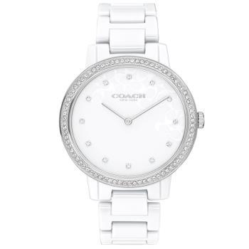 COACH 淡雅LOGO晶鑽陶瓷腕錶/白/35mm/CO14503499