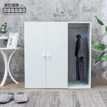 Birdie南亞塑鋼-防水3尺二門一格組合式塑鋼衣櫃/雙吊桿塑鋼收納衣櫃(白色)