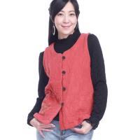 噶瑪蘭桃型領緹花貼式口袋短版背心外套EK5930-06A