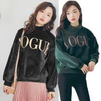 【A1 Darin】韓版字母印花絲絨上衣