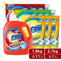 白蘭 洗衣精1瓶+11補 (瓶裝2.7kgX1+補充包1.6kgX11)