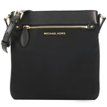 MICHAEL KORS 皮革飾條素面尼龍扁斜背包-黑