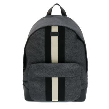 【BALLY】Hingis 黑白織帶尼龍後背包(6215637-黑)