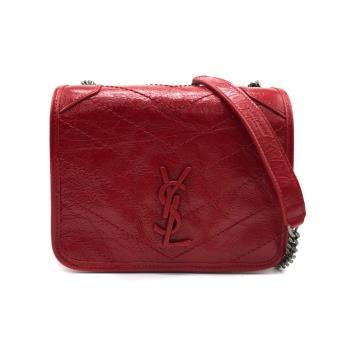 【YSL】NIKI系列金屬logo霧銀鍊牛皮翻蓋斜背包(583103 -紅)