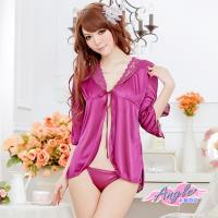 天使霓裳  任選-罩衫 迷戀銷魂 冰絲連身性感睡衣(深紫F) GS1153