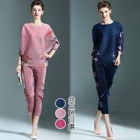【歐風KEITH-WILL】(現貨)優美復古印花兩件式壓褶套裝