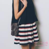 Lockers 木櫃  條紋撞色百褶A字大擺裙/短裙/半身裙(紅色)