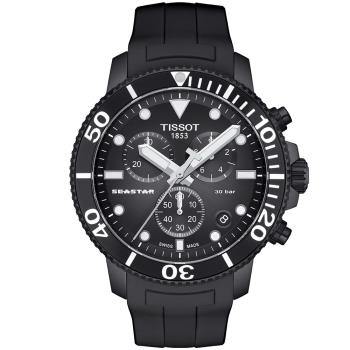 TISSOT 天梭 Seastar 1000海洋之星三眼計時300米潛水錶/黑/45mm/T1204173705102