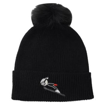 KARL LAGERFELD 卡爾老佛爺 絨毛球造型羊毛針織毛帽.黑