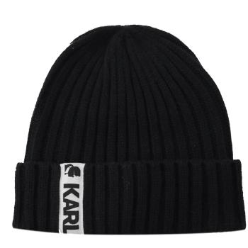 KARL LAGERFELD 卡爾老佛爺 經典LOGO針織毛帽.黑