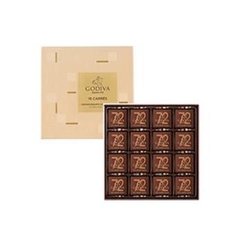 GODIVA 72%黑巧克力片裝禮盒 16片裝 83g