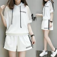 【K.W.韓國】(現貨)優美柔緞連帽短袖套裝