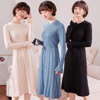 【A1 Darin】韓版甜美修身針織洋裝(杏/藍/黑 3色可選擇)