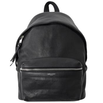 YSL 462807 燙銀LOGO牛皮拼接雙肩後背包.黑