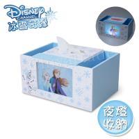 迪士尼Disney 冰雪奇緣 艾莎安娜 方形面紙盒LED小夜燈 衛生紙盒 筆筒 收納盒(正版授權台灣製)