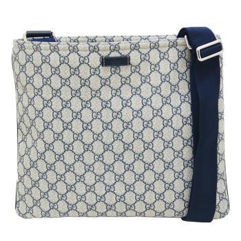 GUCCI 雙G緹花防水PVC斜背方形扁包(藍-201446 )