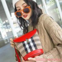 【MIYUNA米友娜】頭層撞色牛皮格紋百搭水桶包-殷紅色