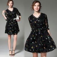 【KEITH-WILL】(預購)水溶蕾絲立體雕花洋裝