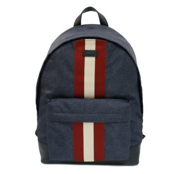 【BALLY】Hingis 紅白織帶尼龍後背包(6215639-藍)