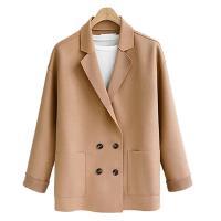 K.W.韓國 (現貨)OL素色雙排扣拿鐵色系毛呢外套