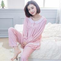 lingling日系 點點荷葉袖滾布蕾絲棉質長袖二件式睡衣組(全尺碼)