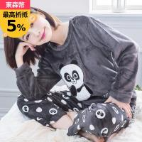 lingling日系 熊貓貼布圓領水貂絨長袖二件式睡衣組(全尺碼)