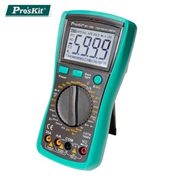 台灣製Proskt寶工3 5/6數位電錶真有效值萬用電表三用電表MT-1280附探針(具線晶體測試,量測交流電壓電容電阻溫度)公司貨,享一年保固