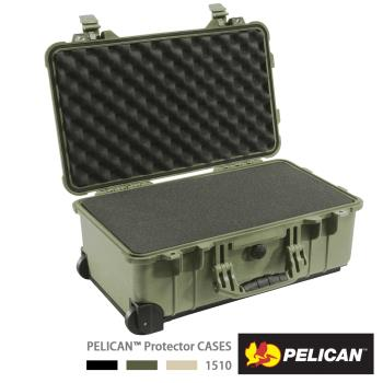 美國 PELICAN 1510 輪座拉桿氣密箱-含泡棉(綠)