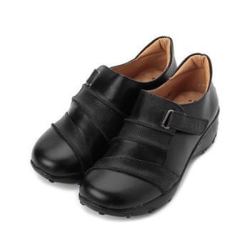 ZOBR 牛皮拼接魔鬼氈休閒鞋 黑 女鞋 鞋全家福