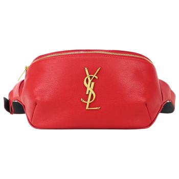 YSL Saint Laurent 荔枝紋皮革金屬LOGO腰包(紅)