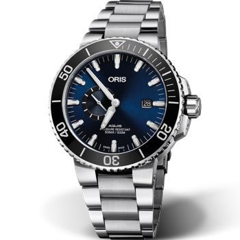 ORIS AQUIS小秒盤潛水機械錶(0174377334135-0782405PEB) 鋼帶