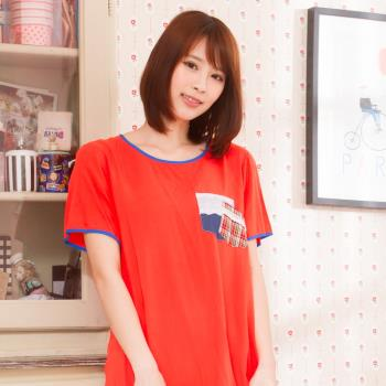 Wonderland 素色格紋嫘縈居家洋裝(橘紅)