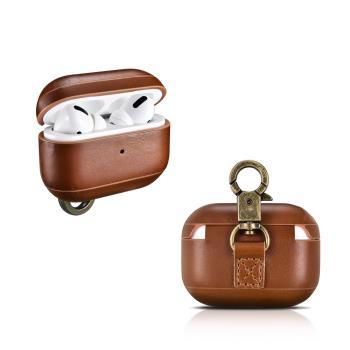 ICARER 復古系列 AirPods Pro 金屬環扣 手工真皮保護套 蘋果無線耳機 收納保謢套